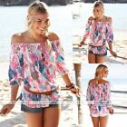 Sweet Casual Floral Chiffon Off Shoulder T-Shirt Top Blouse Tank Tops Loose Hot