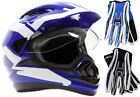 Dual Sport Blue Helmet Motorcycle Gloves Combo Adult DOT