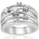 I SI 3/4ct Diamond Multi Row Wide Right Hand Ring 10k White or Yellow Gold