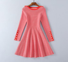 Spring Occident fashion decorative buttons plaid knit stretch long-sleeve dress