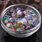 12mm Lampwork Glass Faceted Rondelle Charms Flowers Inside Loose Spacer Beads