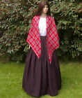 Ladies Victorian peasant mill worker 2pc costume fancy dress Royal Stewart shawl