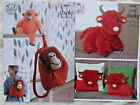KING COLE TINSEL TOY PATTERNS .  HIGHLAND COW & CUSHIONS. ORANGUTAN BACKPACK/TOY