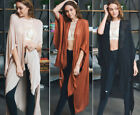 Solid Colors Long Kimono Duster Cardigan Fringe Hems Open Front Woven Wrap Boho