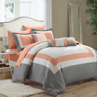 Duke Peach, White & Grey 10 Piece Comforter Bed In A Bag Set