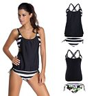Women's Push Up Tankini Black Floral Bathing Suit 2 Piece