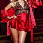 2637 - Sexy red satin & lace short chemise & thong with matching lace robe Sz 8