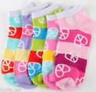 Color Stripe Peace/Heart Print Womens/Teen Ankle Socks 3 Pair Pack 9-11