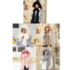 3-in-1 Girl Fluffy Hat Scarf Long Pocket Beanies Gloves Earflap Scarf  Conjoined