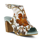 New L'Artiste Women's TAPESTRY-WBRM White Brown Multi Printed Leather Sandals