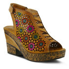 New L'Artiste Women's BEWITCHED-NAT Natural Leather Platform Wedge Sandals