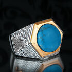 Handmade Mens Ring in SOLID STERLING SILVER with Natural Blue Turquois Gemstone