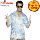CA595 Blue Hawaiian Shirt Mens Funny Luau Beach Hawaii Holiday Fancy Costume Top