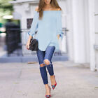 Women's Off the Shoulder Tops Casual Blouse Long Sleeve Ladies Summer T-Shirt US