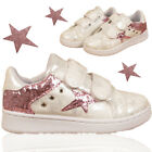 GIRLS GLITTERING STAR TOUCH STRAP CASUAL SPORTS TRAINER RUNNING KIDS SHOES SIZE