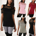 Womens Cold Shoulder Caged T-Shirt Summer Short Sleeve Casual Tops Blouse Tee US