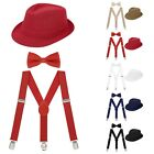 Внешний вид - Cute Boys Formal Fedora Bow Tie & Suspenders Bundle Set Toddler Kid Wedding Hat