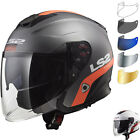 LS2 OF521 Infinity Smart Open Face Motorcycle Helmet & Visor Motorbike Crash ECE