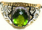 Men's Unique Peridot 2 Tone Ring ** August Birthstone ** 31512