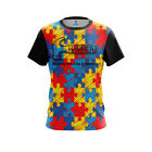 Hammer Mens Dye Sub Autism Awareness CoolWick Performance Crew Bowling Shirt