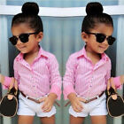 3Pcs Lovely Baby Girls Shirt + White Pants + Belt Set Kids Clothes Outfits 1-7Y