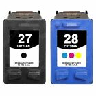 2-PACK Black/Color Remanufactured Ink Cartridge replacements for HP 27/ HP 28
