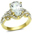 New Gold IP Ladies Teardrop CZ Solitaire Cluster Cocktail Ring