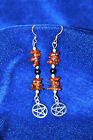 Amber  Jet & Silver Pentegram dropper earrings Silver 925 -Pagan-Geniuine Amber