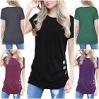 Fashion Women's Summer Button Top Short Sleeve Blouse Ladies Casual Tops T-Shirt