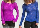 Rose Print Stretch Mesh Lace Boatneck Long Sleeve Peplum Blouse Top S M L