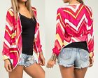 Fuchsia/Red Chevron Drape/Tie Front Long Sleeve Chiffon Cover-Up Cardigan