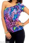 Purple/Blue Floral/Leopard Animal One/Off Shoulder Smocked Hem Top
