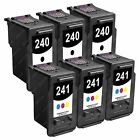 6-PACK [3 Sets] Remanufactured PG-240/CL-241 Ink Cartridges for Canon Printer