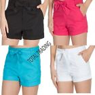 LADIES CASUAL 100% pure cotton  SHORTS BEACH WEAR HOLIDAYS SUMMER  TIE BELT