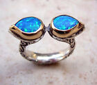 Brilliant Blue Opal wrapped  in 14K Gold on .925 Sterling Silver Signet Ring