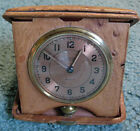 WALTHAM PREMIER 8 DAYS Travel Clock in Ostrich Case from 1940 with Inscription фото