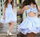 Kids Baby Girl Pageant Princess Sleeveless Stripe Lace Dress Summer Clothes Cute