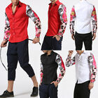 Mens  Long Sleeves Floral Splicing Printed Autumn Spring Slim Shirt T-Shirts Top