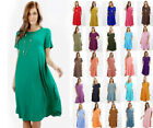 S-3X Women Short Sleeve Midi T-Shirt Pocket Dress Long A-Lin