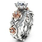 White Gold Plated Women Wedding Bridal Engagement Ring Set Flower Shape Ring R90