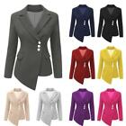 Maxi Blazer Button Outwear Work Office Ladies Long Sleeve Jacket Coat Clothes
