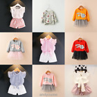 2pcs Kids Baby Girls Cute Outfits Clothes T-shirt Tops + Shorts Tutu Skirt Sets