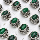 Wholesale lots 5-25pcs Natural Malachite Gemstone Stone Silver Tone Ring FREE