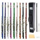 10 Colors 16 Hole C Practice Flute for Student Beginner School Band w/ Case