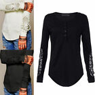 Women Lady  Floral Casual Crew Neck Lace Long Sleeve T-shirt Slim Blouse Tops