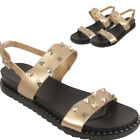 Ladies Sandals Studs Diamante Embedded Buckle Beach Dual Strap Party Slippers
