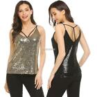 Women Casual V-Neck Sleeveless Solid Criss Cross Sequined Tank Tops N98B