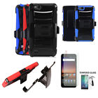 Phone Case For ZTE Avid 557 / ZTE Avid 4 Tempered Glass Screen Holster Cover