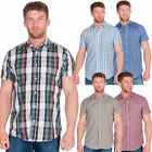 Mens Designer Check Shirt Top Short Sleeve Smart Work Casual Summer Yarn Dyed
