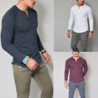 Remikstyt Men Henley Soft Long Sleeve Shirts Pullover Button T-shirt Tank Tops